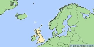 Map showing the location of London. Click map to see the location on our worldwide Time Zone Map.