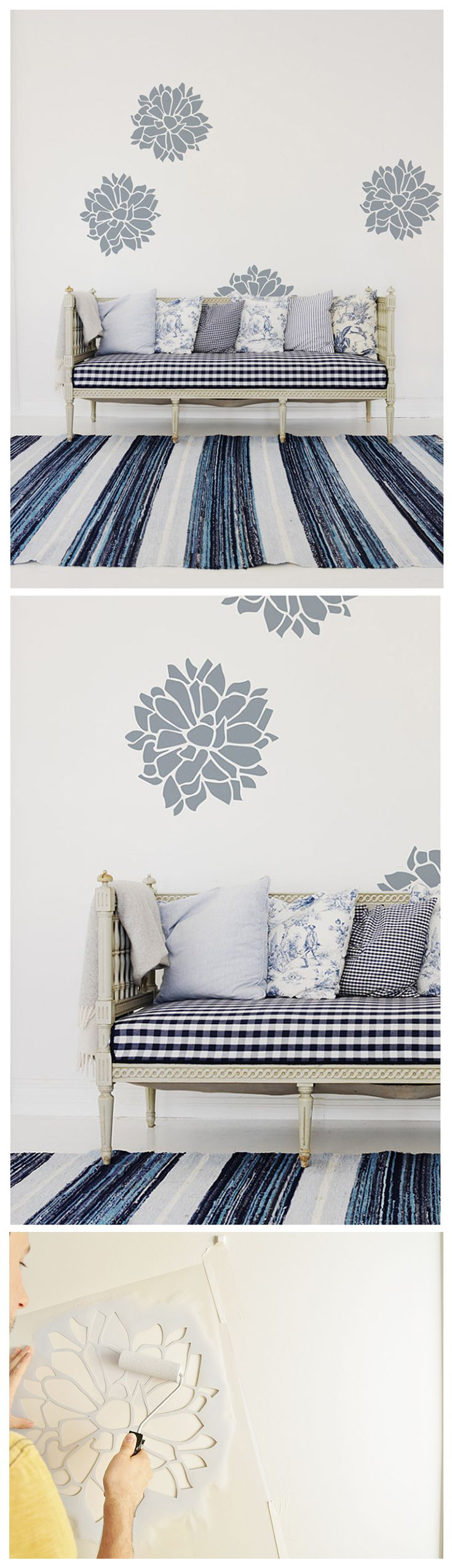 Floral stencil, Chrysanthemum wall stencil for wall decor.