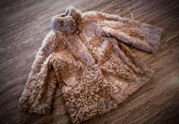 Fur Jacket/ Real goat fur/ Beige black white color