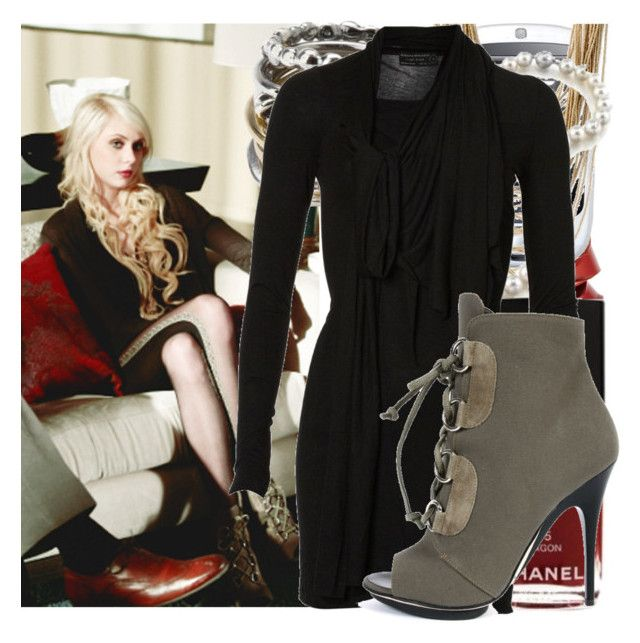"""jenny humphrey - daddy issues"" by cla-90 ❤ liked on Polyvore featuring Iosselliani, Revlon, HTC, Cara Accessories, Chanel, AllSaints, Giuseppe Zanotti, sweater dresses, gossip gril and giuseppe zanotti"