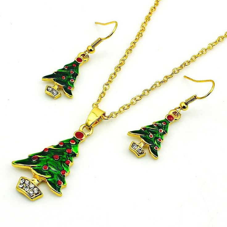 Artificial Christmas Tree Gold Plated Earrings Necklace Jewelry Sets