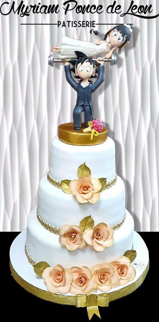 Torta de bodas con pareja de novios
