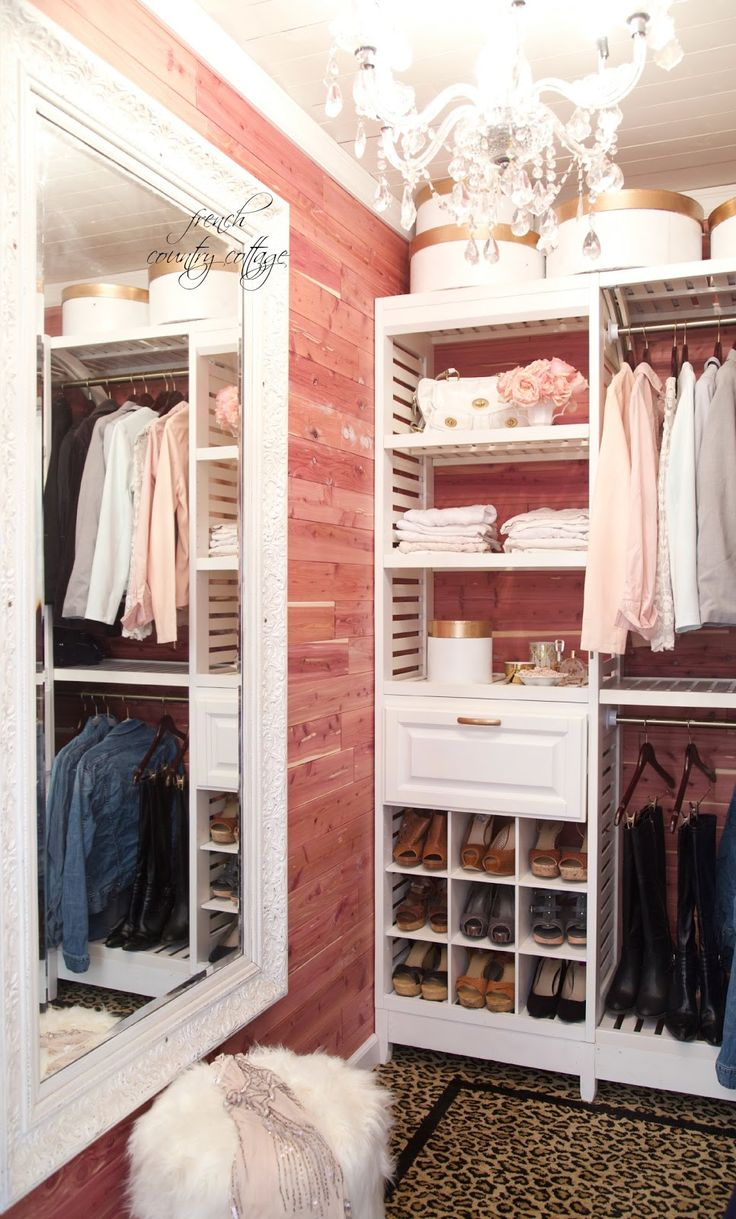 Beautiful cedar-lined walls & slatted shelving. Delightful and dreamy!  Love this closet!! FRENCH COUNTRY COTTAGE: A little bit glam- Closet Makeover part one