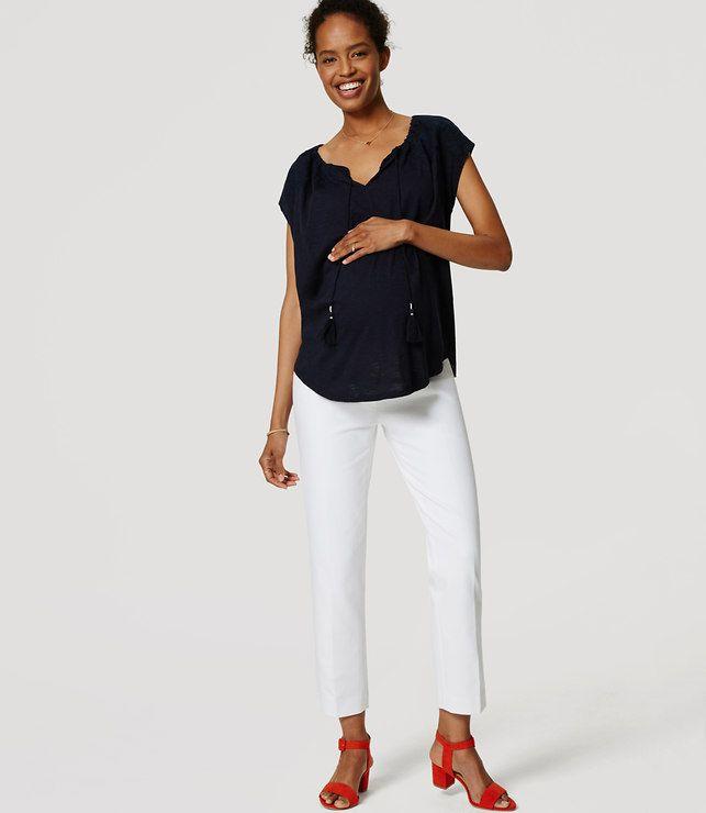 LOFT Petite Maternity Bi-Stretch Riviera Cropped Pants