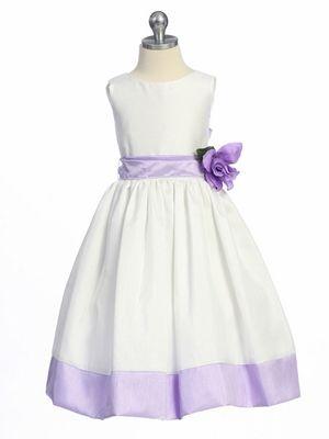 Lilac Flower Girl Dress - Sleeveless Shantung w/ Sash
