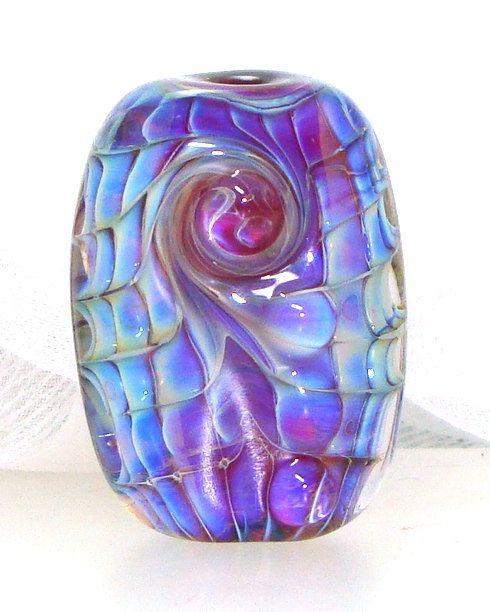 handmade lampwork bead silver glass blue violet