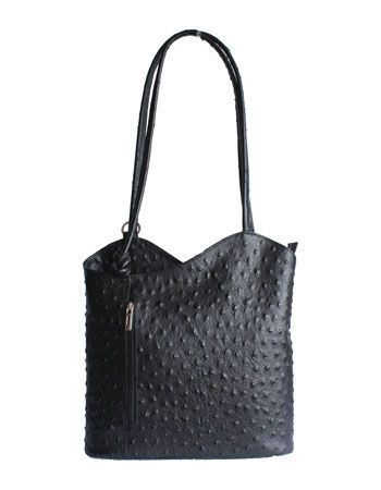 Multi-Way Black Ostrich Leather Shoulder Bag/Backpack