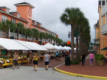 Celebration Florida-- such a cute little town but it started raining so we couldn't walk around after lunch.