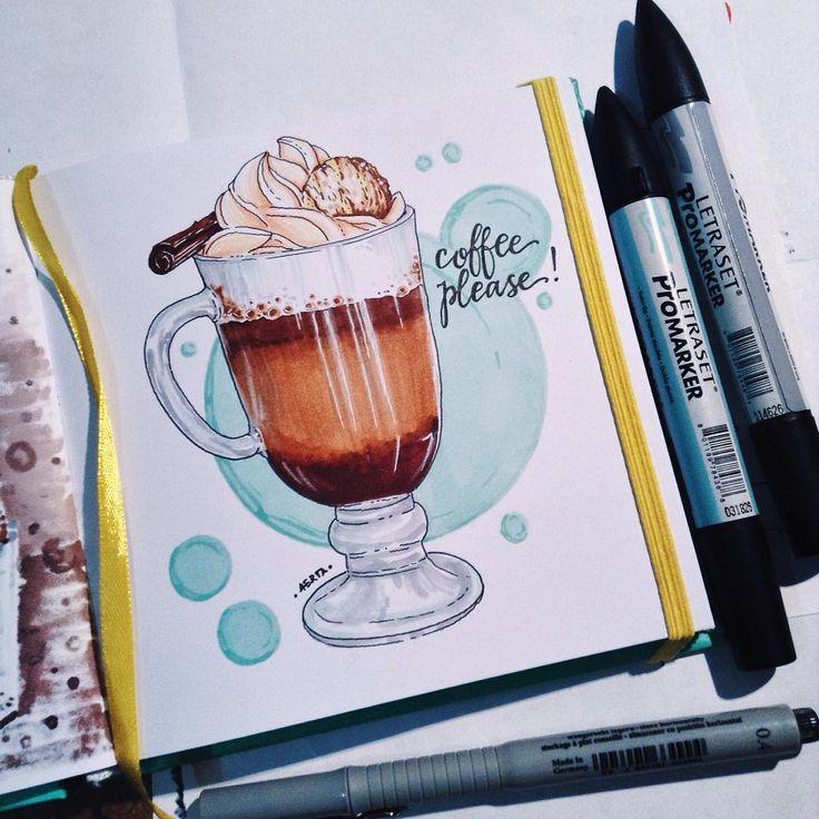 Ещё один урок в рамках #экстримскетчинг2 - стеклянная чашка с кофе #kalachevaschool #by4erta