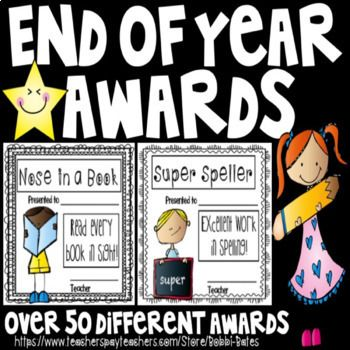 Celebrate the end of year and your students with over 60 different awards. The kids love the unique categories and every student gets something different and one of a kind! There is a boy and girl version of each. The awards are in color but I print mine on colored cardstock and they turn out WONDERFUL!