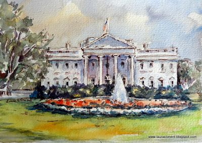 "Laura Climent. ""La Casa Blanca"".  Watercolor. Acuarela"