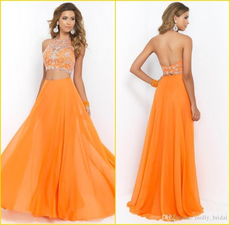 Two Pieces Set Orange Long Prom Dresses 2015 Sexy Halter Backless A Line Chiffon Floor Length Beaded Cheap Formal Dress Long Evening Dress Online with $99.98/Piece on Molly_bridal's Store | DHgate.com