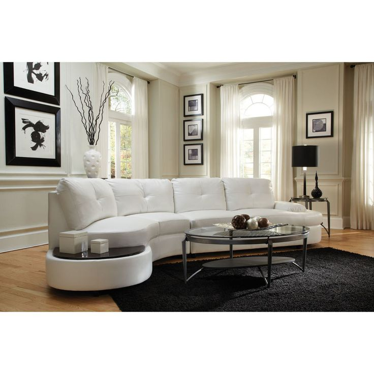 Sofas On Sale Modern White Leather Sectional Couch Built In Side Table Backrest
