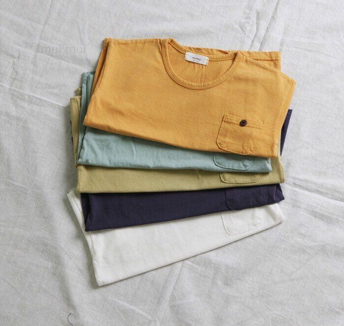 Kids Boys Girls Simple Mustard Top T-shirt With Button Pocket / 3-4T #Unbranded
