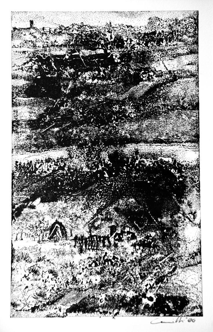 """Gabriele Camilli - Title : """"Torre di palme"""" - Personal technique: Cromomonotipo su carta rosa spina - Dimension : cm 27 x 18 - Year : 2007"""