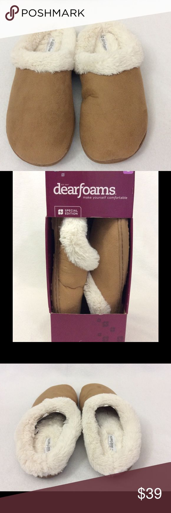 Dearfoams special edition memory foam slippers. Microfiber suede slippers with memory foam. Size 8. Color: camel. Dearfoams Shoes Slippers