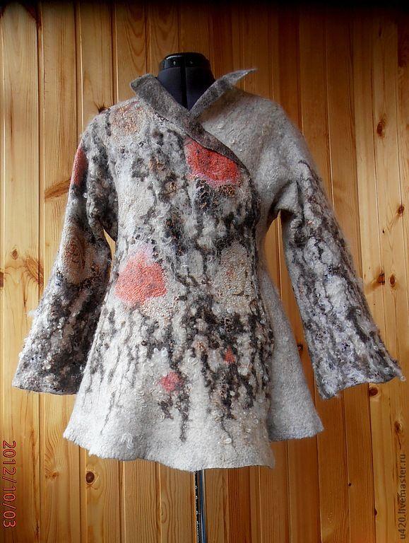 """Купить Валяное пальто """"Кошачья нежность"""" - бежевый, звериная расцветка, розы, эксклюзивный подарок"""