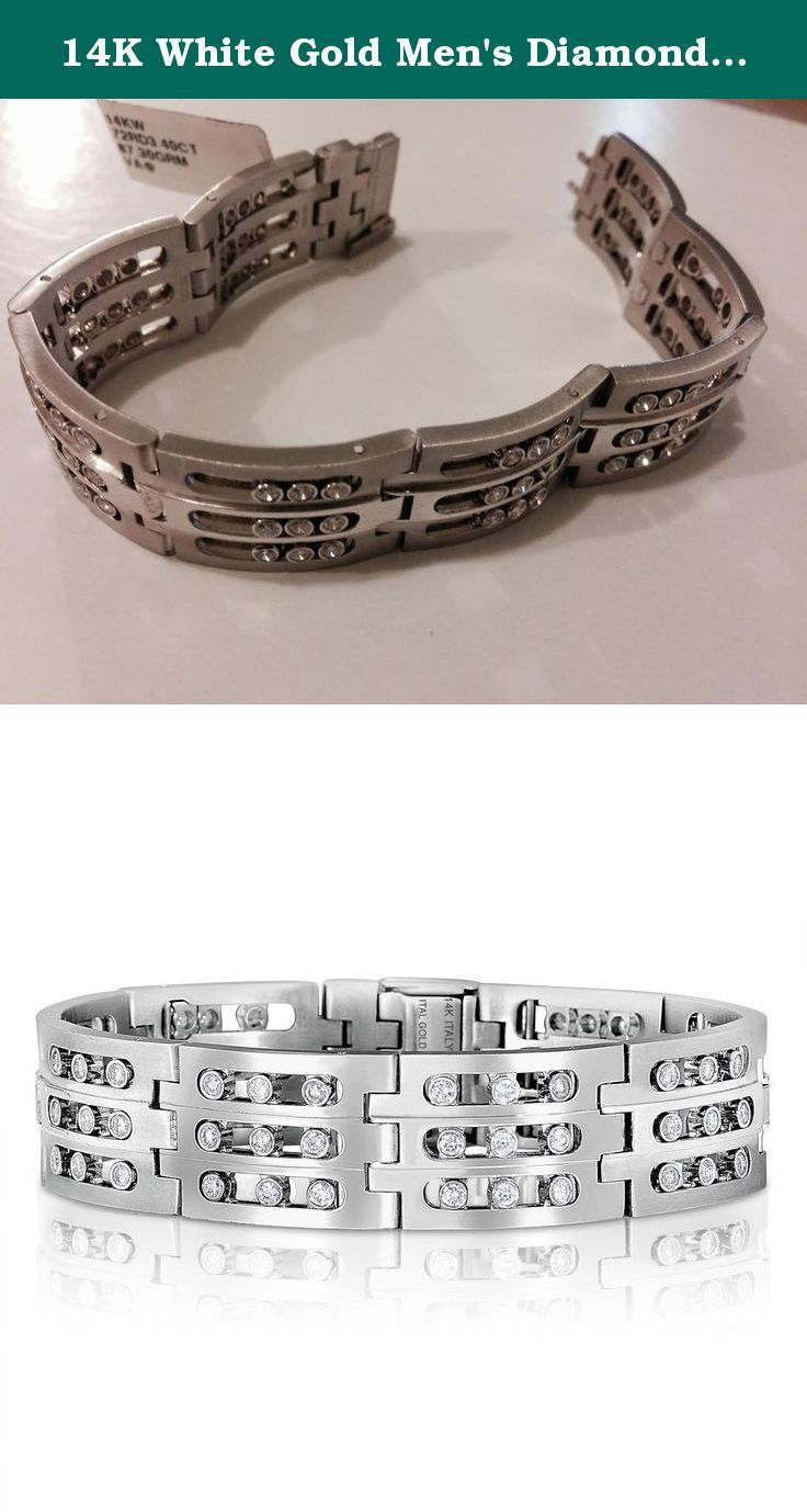 14K White Gold Men's Diamond link Bracelet Rolex Style , 3.4 CTW Sliding Diamonds, 18 mm wide, 8 in. This is a one of kind heavy, 87 gram, 14K White Gold Rolex Style bracelet has 3 rows of a total of 72 high quality diamonds that slide and sparkle. The links are a matte rolex style and it secured with a reinforced flap closure.