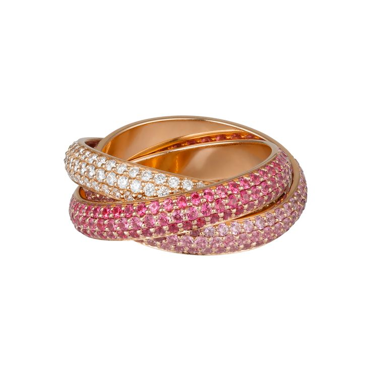 Trinity de Cartier ring Pink gold, diamonds, sapphires