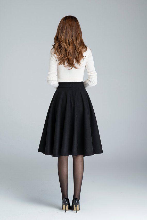 8e7848fa8d Wool circle skirt black skirt winter skirt skater skirt Pleated Skirts Knee  Length, Flowy Skirt