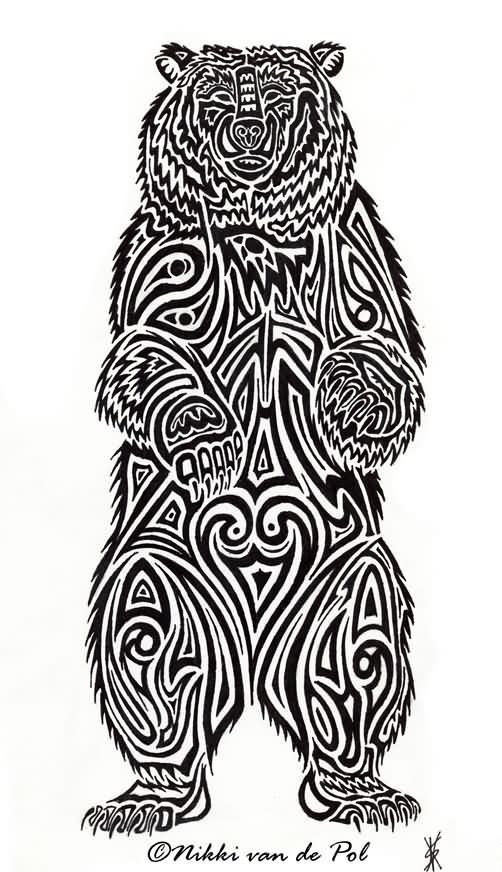 Interest tattoo ideas and design - Angry Tribal Bear Tattoo Photo - 9. If you want to make a tattoo, look how it looks from other people!