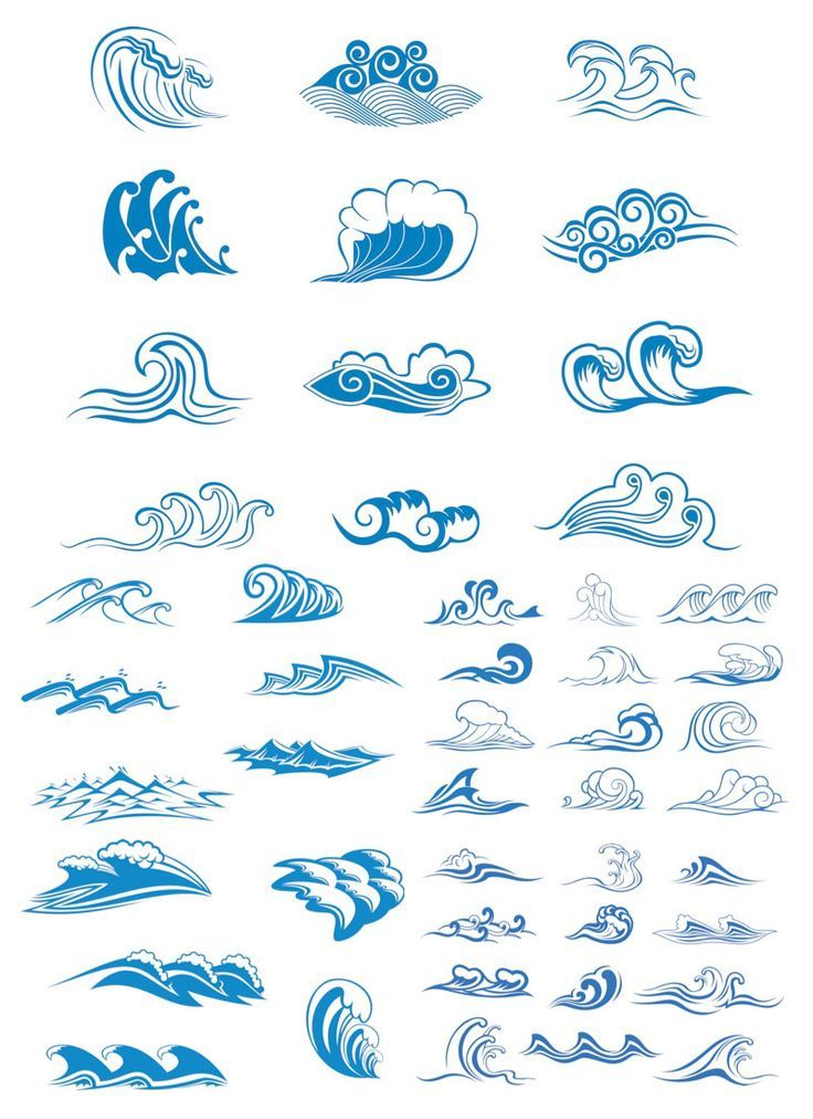 vector | Sea waves symbols vector | Vector Graphics Blog: