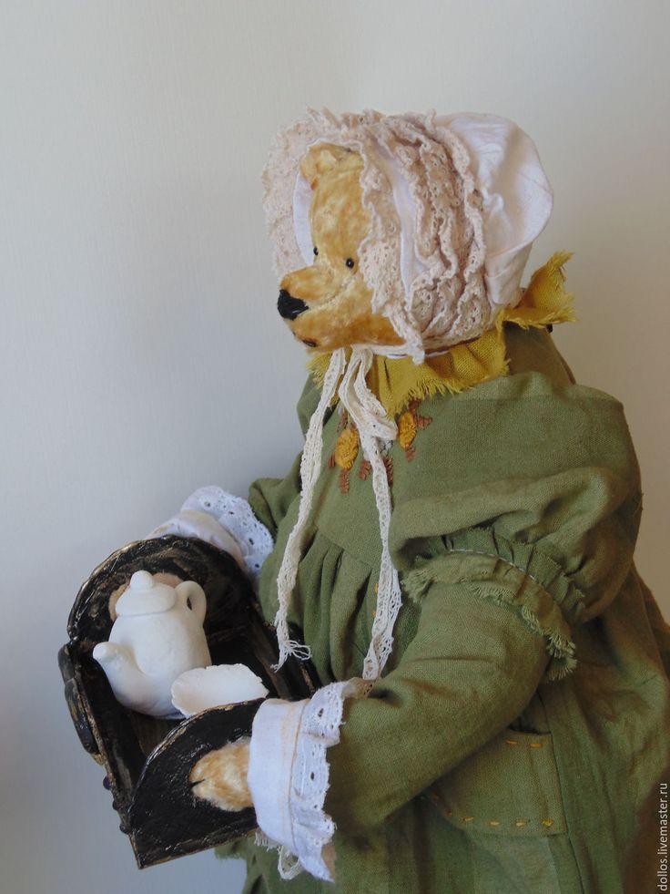 Купить Миссис Хадсон - оливковый, мишка, тедди, деревня мишкино, винтаж, коллекционные медведи