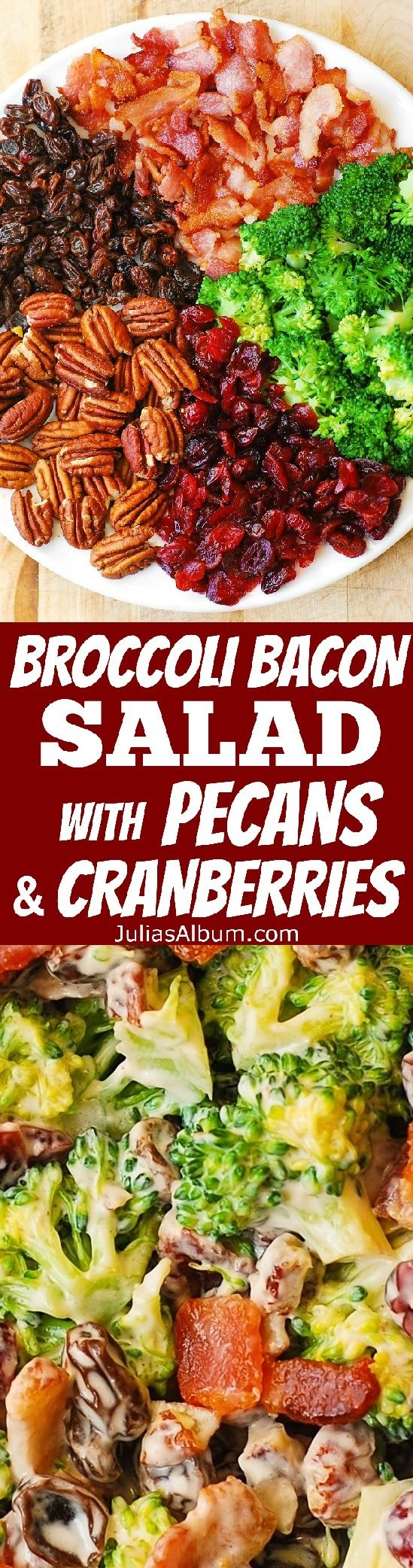Broccoli Salad with Pecans, Cranberries, Raisins, and Bacon - healthy, DELICIOUS, gluten free salad, packed with fiber! (party food, picnic, potluck recipes) (Vegan Gluten Free Potluck)