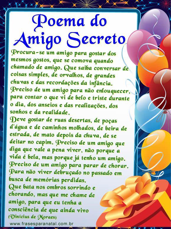 cartas para amigo secreto, poema do amigo secreto