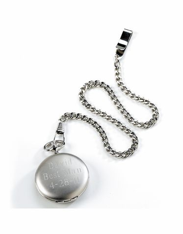 Silver Brushed Personalized Pocket Watch