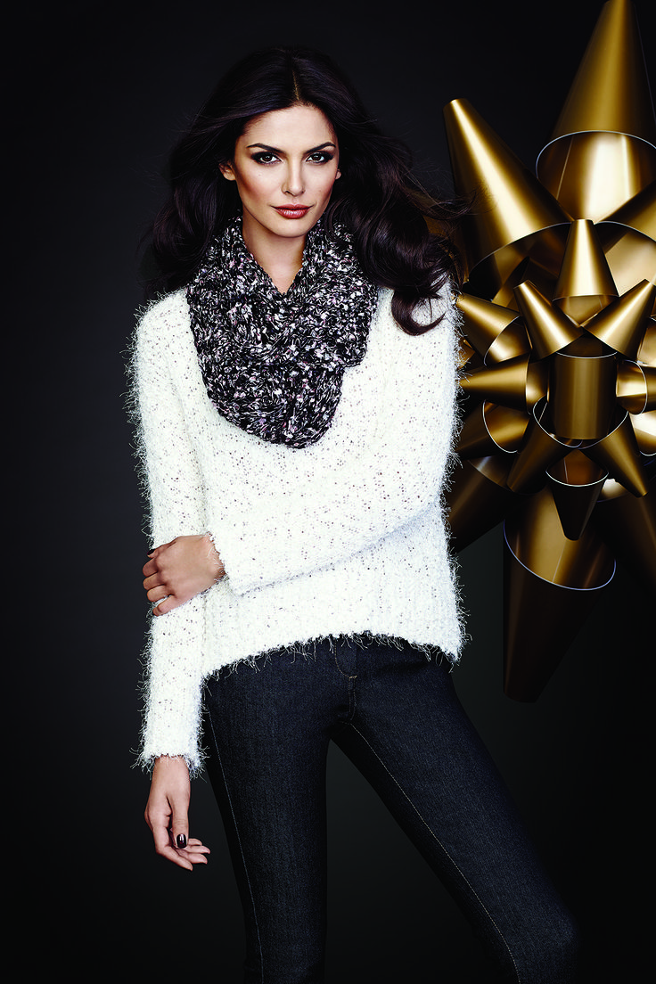 Feather Yarn And Sequin Boat Neck Sweater