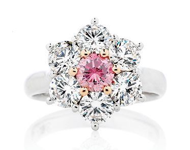 Pink and white cluster diamond ring  | Holloway Diamonds