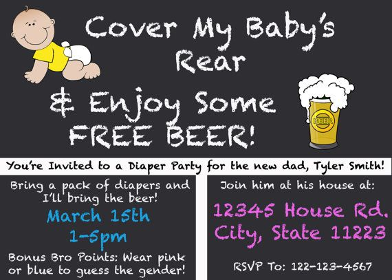 digital diaper and beer party invitation