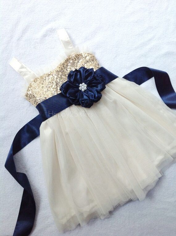 Gold sequin flower girl dress Navy blue flower by Happy2sisters