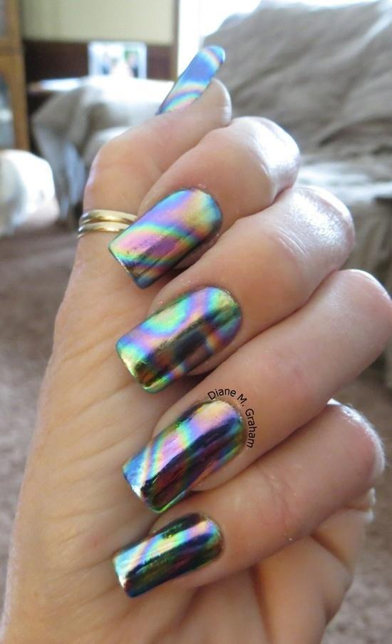 Rainbow Swirl Foil Nail Art Pinterest Rainbows