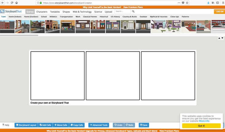 How to use Storyboard That, the digital storytelling software. Screen capture of the Free Version Interface.  #bloggerresources #tutorial #storyboard #graphicdesign #contentcreation #bloggingtools