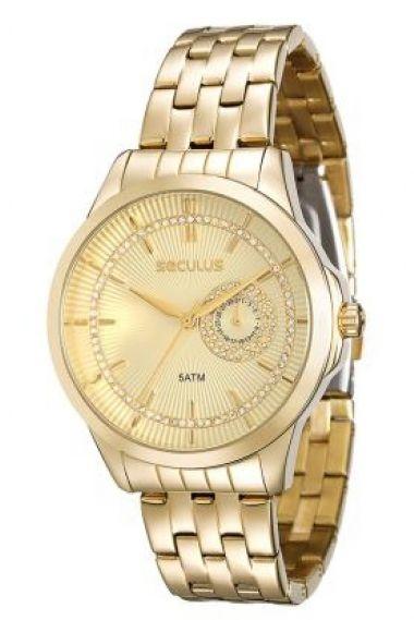 20374LPSVDS1 Relógio Feminino Dourado Seculus Glamour   Guest Club