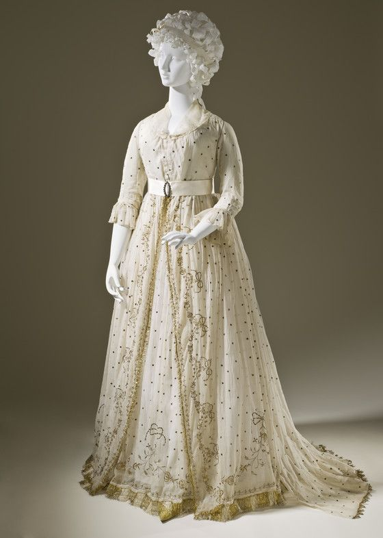 Woman's Dress England, circa 1795 Costumes; principal attire (entire body) Cotton plain weave with metallic embroidery | LACMA Collections