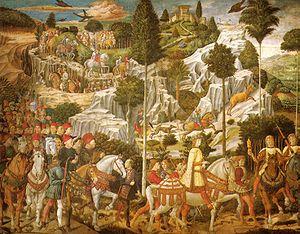 Benozzo Gozzoli, Cappella dei magi, corteo con lorenzo, piero e giovanni de' medici.jpg