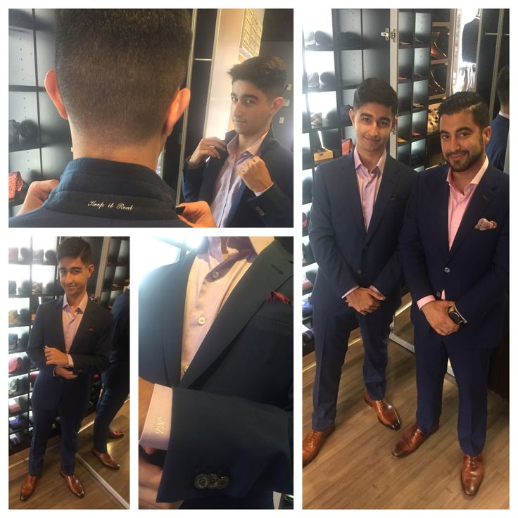 Words can't express how proud I am of my little brother... He's definitely not little anymore in his first #customsuit  #theCustomLife @balanicustom #fashion #blogger #navy #balani by #sway #classof2018 #suitup👔