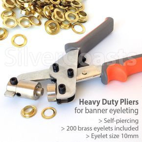 Self-piercing Pliers, 200 Eyelets, Punch Die Tool Set Banner Sign Grommets, 10mm