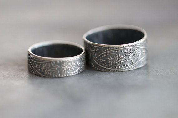 Paisley Ring His and Hers Wedding Bands by MossyCreekStudio