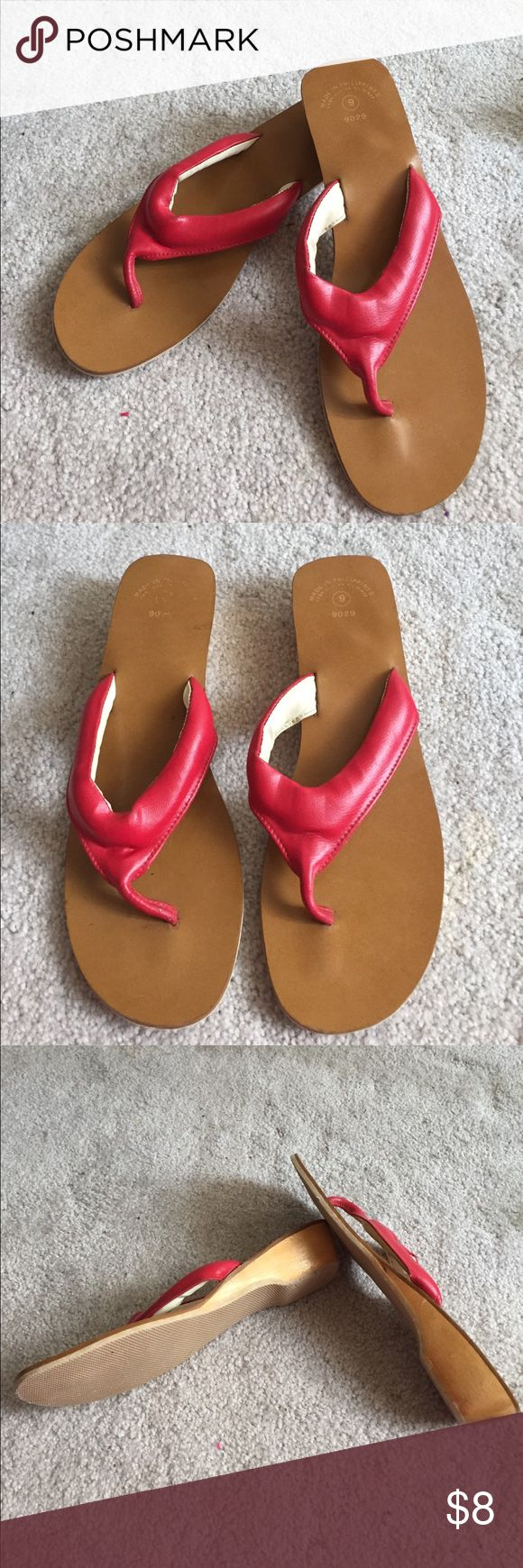 "Red Leather with Wood Wedge Flip Flop Barely worn Red Lesther on wood 3/4"" wedge ""Flip Flop""!  Great for summer! Shoes Sandals"