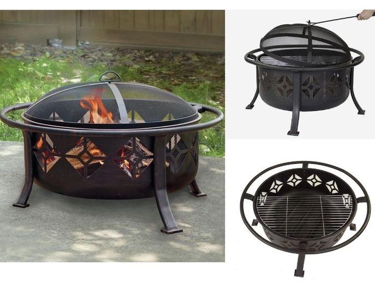 """Outdoor 36"""" Wood Deep Fire Pit Steel Round Mesh Cover Cooking Grid Poker Bronze #OFWOutdoor"""