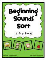 Beginning Sounds Sorting Center  http://havefunteaching.com/worksheets/phonics-worksheets/beginning-sounds-worksheets/#