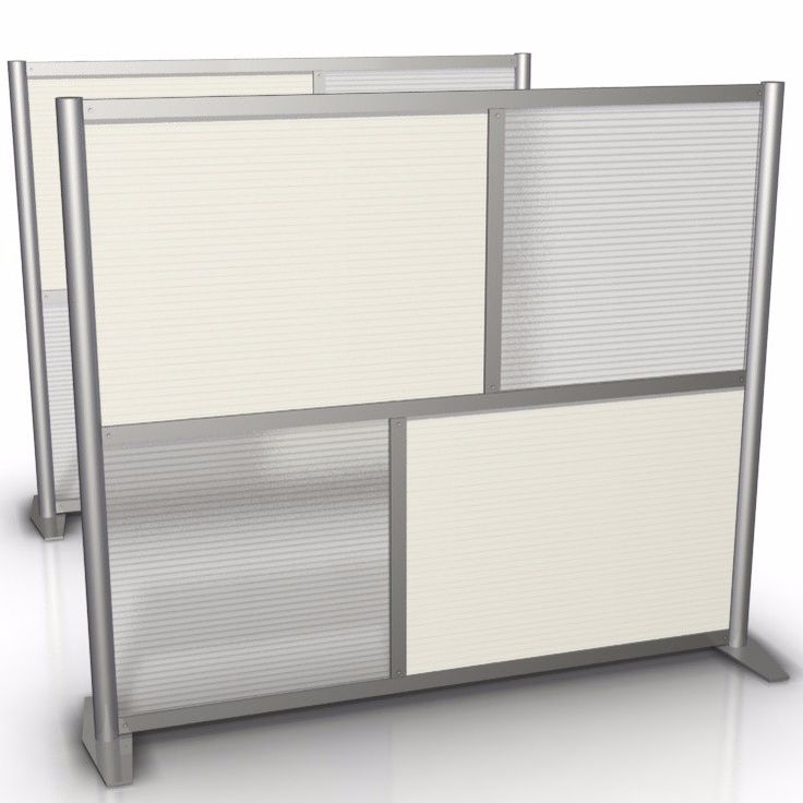 "Office Partition, Translucent & White Panels, 60"" wide x 51"" high"
