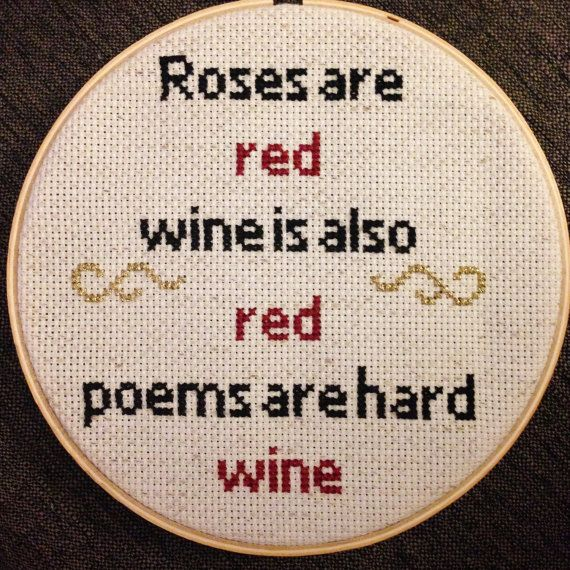 Wine Cross Stitch by ReywasEmporium on Etsy