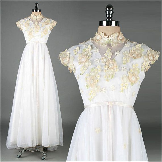 Vintage 1960s Dress  White Chiffon  Floral by millstreetvintage, $345.00