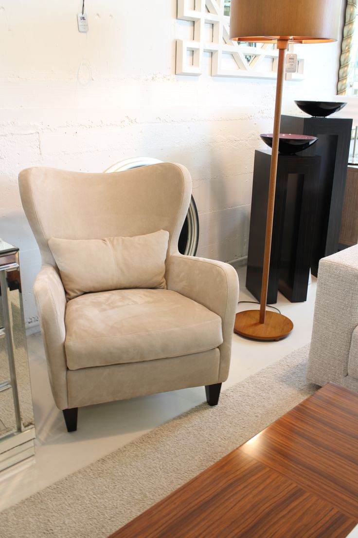Portifino Armchair made in Italy by Marac, Wood floor lamp made in Italy by Penta. Available at Sarsfield Brooke.