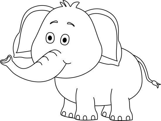 Cute Elephant Clip Art Black and White | Çizimler, Boyama ...